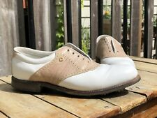FootJoy Womens White Tan Leather Golf Shoes Size 10.5 M Soft Spikes