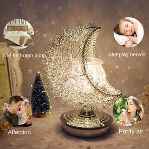 Electric Aroma Warmer 3D Moon Glass Lamp Night Light Candle Wax Melt Burner UK