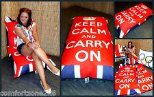 UNION JACK KEEP CALM AND CARRY ON STANDARD BEAN BAG FLOOR CUSHION garden beanbag