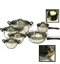 12pc Stainless Steel Saucepans Pots Pans Set Cookware Cooking Kitchen Equipment