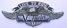 LIVE TO RIDE EAGLE EMBROIDERED 5 INCH IRON ON MC BIKER PATCH