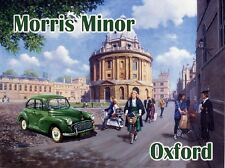 Morris Minor, Vintage Classic Car in Oxford City University Small Metal Tin Sign