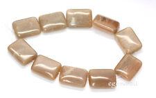 "10 Peach Moonstone Flat Rectangle Beads 15x20mm 8""  #74069"