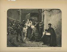 ANTIQUE WAITING FOR THE DILIGENCE SPANISH MATADOR JEHAN GEORGES VIBERT OLD PRINT