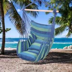Blue Stripe Hammock Hanging Rope Chair Porch Swing Seat Patio Camping Hang