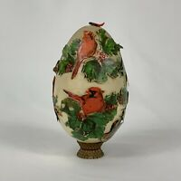 Vintage Victorian Style Decoupage ACTUAL Egg Paper Cardinals Stand Holly Birds