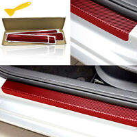 Red Car Accessories Door Sill Scuff Welcome Pedal Protect Carbon Fiber Sticker