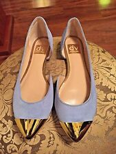 Dolce Vita Blue Suede Pointy Flats w/ Gold Tips NWOB - Size 7M