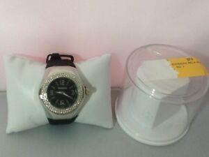 Rousseau 9664 Women's Watch MELA Swarovski Bezel Black Dial New