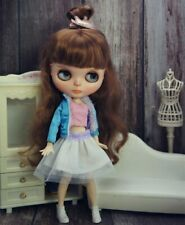 Fashion Doll Clothes Set For Blythe Doll Outfits Blue Coat White Skirt Dress 1/6