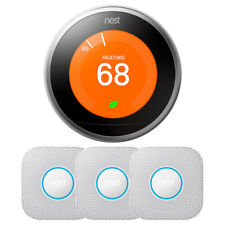 Google Nest Learning Thermostat 3rd Gen (Stainless Steel) w/ 3-Pack Nest Protect