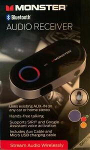 Monster Bluetooth Audio Receiver W/ Google & Siri Virtual Assistant/BT-V4.2/BNIB