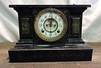 ANTIQUE 1881 ANSONIA (VENICE) ENAMELED IRON SHELF MANTLE CLOCK W/ KEY