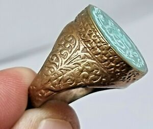 EXTREMELY RARE ANCIENT ROMAN GOLD GILTED SEAL RING RARE STONE.13,6 GR.18 MM