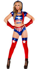 Adult Avengers Captain America Fancy Dress Halloween Women Superhero Costume S-L