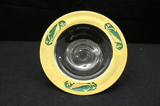 Depression Glass Clear Rim Gold PHEASANT Mayonnaise Bowl w/Reverse Painted Green