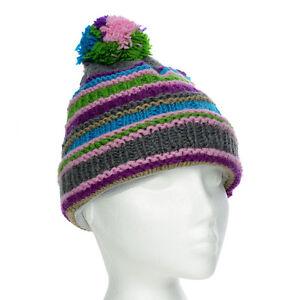 Funky Hand Knit Winter Woollen Beanie Brighton Bobble Hat, One Size, UNISEX BB4