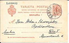 SPAIN 1910 10c POSTAL STATIONERY CARD HG 49 TO VIENNA