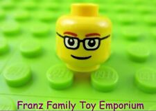 LEGO Minifigure HEAD Yellow w/ Brown Eyebrows Glasses Male Body Part #H15