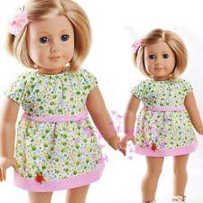 "ON Sale New Handmade Doll Clothes For18"" American Girl Green Flower skirt Dress"