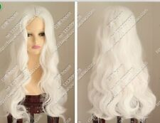 New Cos white long curly cosplay full wig Free shipping #442