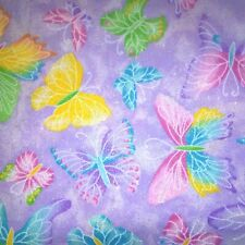 100% Cotton Fabric - Chrystalline Butterfly ~ Purple with Glitter