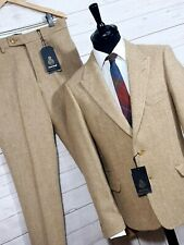 ⭐ mens HARRIS TWEED 2 piece suit jacket / blazer trousers beige sizes available