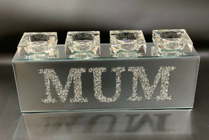 SPARKLY BLING CRUSHED DIAMOND CRYSTAL FILLED 'MUM' TEA LIGHT CANDLE HOLDER✨