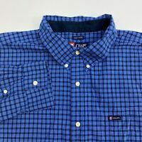 Chaps Button Up Shirt Mens XXL Blue Plaid Easy Care Long Sleeve Casual