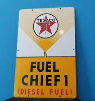 VINTAGE TEXACO GASOLINE PORCELAIN MOTOR OIL GAS FUEL CHIEF SERVICE SIGN