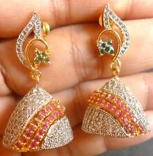 Genuine Cubic Zirconia AD Gold Silver Plated Ruby Indian Earrings Set g