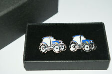 Blue Tractor Cufflinks Ford/New Holland GIFT Boxed Enamel Farming Groom Wedding