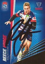 ✺Signed✺ 2017 MELBOURNE REBELS Rugby Union Card REECE HODGE Gold