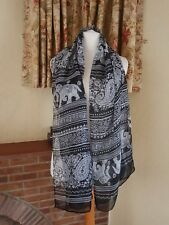 BLACK WHITE ELEPHANT CHRISTMAS FUN PRINT  SCARF WRAP - OTHER COLS AVAILABLE