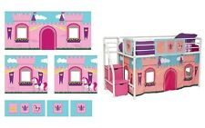 Girls Princess Castle Bed Curtain Set Pink Playroom 4 Loft or Bunk -Curtain Only