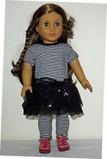 Black and White Dress and Leggings plus shoes for 18 inch Dolls