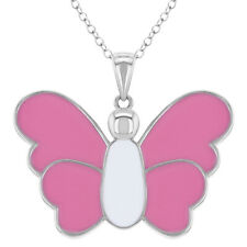 """925 Sterling Silver Butterfly Necklace Pendant Pink Enamel for Girls Teens 16"""""""
