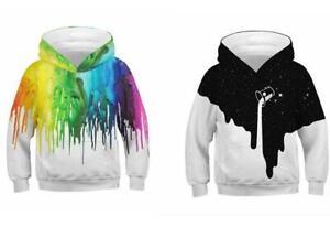 Kinder Mädchen Jungen Langarm Kapuzenpullover Hoodie Sweatshirt Pullover Top