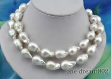 "33"" 16x25mm baroque white reborn keshi pearl necklace"