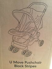 MOTHERCARE  BLACK STRIPES U MOVE PUSHCHAIR  TRAVEL SYSTEM BRAND NEW