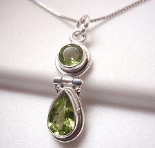 Peridot Faceted Double Gem 925 Sterling Silver Pendant Corona Sun Jewelry