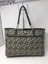 Tommy Hilfiger Signature Tote Bag Purse Beige Black Large