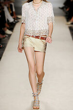 Isabel Marant White Devin Embellished Stretch-Leather Shorts