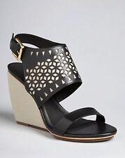 NEW Rebecca Minkoff Sally Open Toe Black Leather Wedge Sandal, Size 10.5, $295