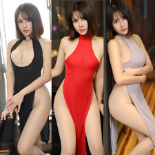 Women Dual Use Long Pajamas Uniform Dress Cheongsam High Slit Dance Clubwear