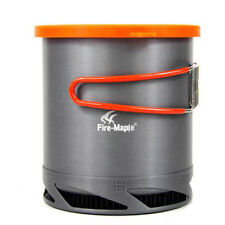 Portable Heat Collecting Exchanger Pot 1L Aluminum Camping Cookware Kettle
