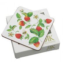Roy Kirkham Alpine Strawberry Cork Backed Coasters Drinks Mats Set of 6 Boxed