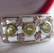 Natural Green Peridot 1.50CT 925 Silver,Vintage Fine Estate Jewelry,Size 6.5