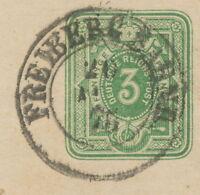 """DT.REICH """"FREIBERG BAHNH."""" seltene K2 auf Pra.-GA-Streifband 3 Pfennige 1875"""