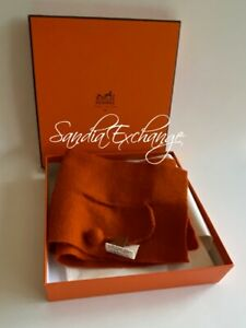 Authentic Hermes Baby Scarf Shawl HERMES Orange Cashmere 100%